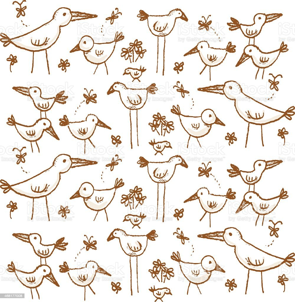 Hand Drawn Bird Pattern royalty-free hand drawn bird pattern stock vector art & more images of 2015