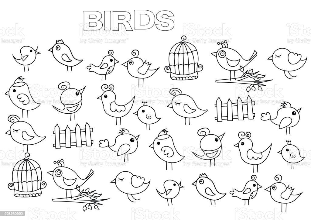Ilustración de Conjunto De Pájaros Dibujados A Mano Plantilla De ...