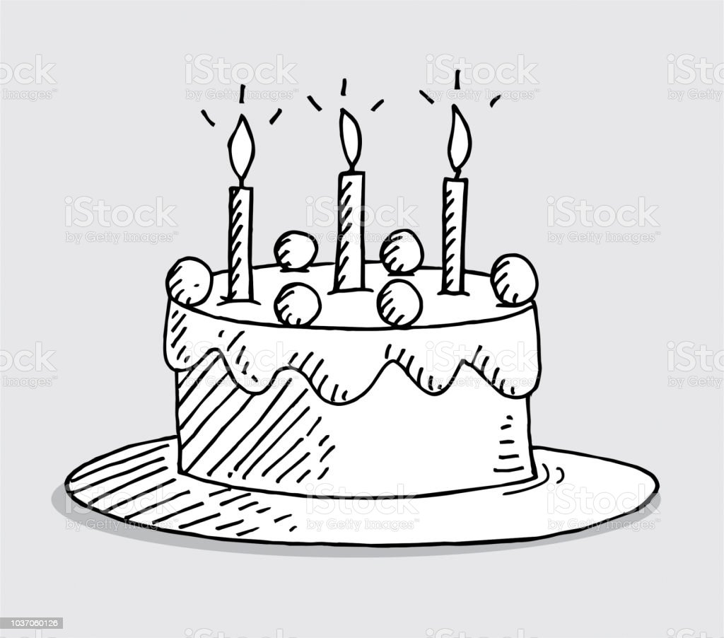 Astounding Hand Drawn Birthday Cake Stock Illustration Download Image Now Birthday Cards Printable Trancafe Filternl