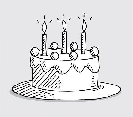 Hand drawn birthday cake