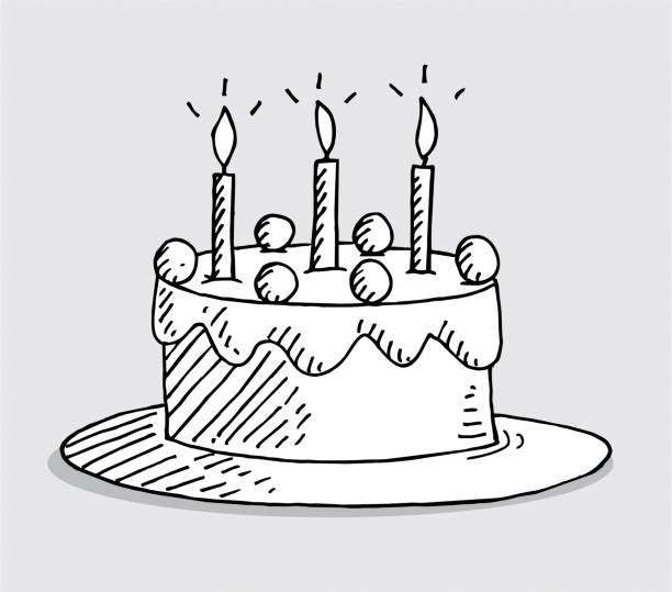Royalty Free Birthday Cake Outline Cartoon Clip Art Vector Images
