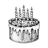 Hand drawn Birthday cake with candles isolated on white. Vector illustration in sketch style