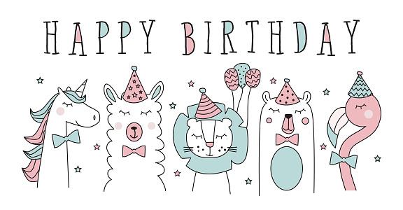 hand drawn birthday card with cute flamingo, llama, unicorn, lion, bear, vector illustration