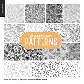 Hand drawn black and white 15 patterns set
