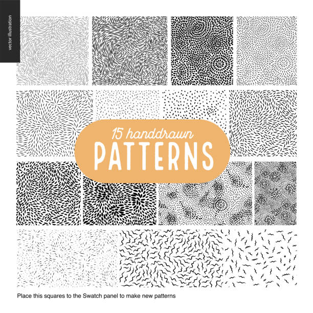 Hand drawn black and white 15 patterns set Handdrawn black and white 15 patterns set. Fur or leaves seamless black and white patterns animal hair stock illustrations