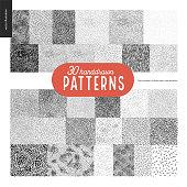 Handdrawn black and white 30 patterns set. Fur or leaves seamless black and white patterns