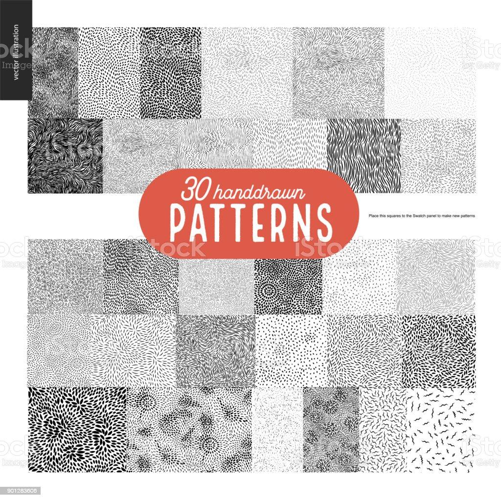 Hand drawn black and white 30 patterns set vector art illustration