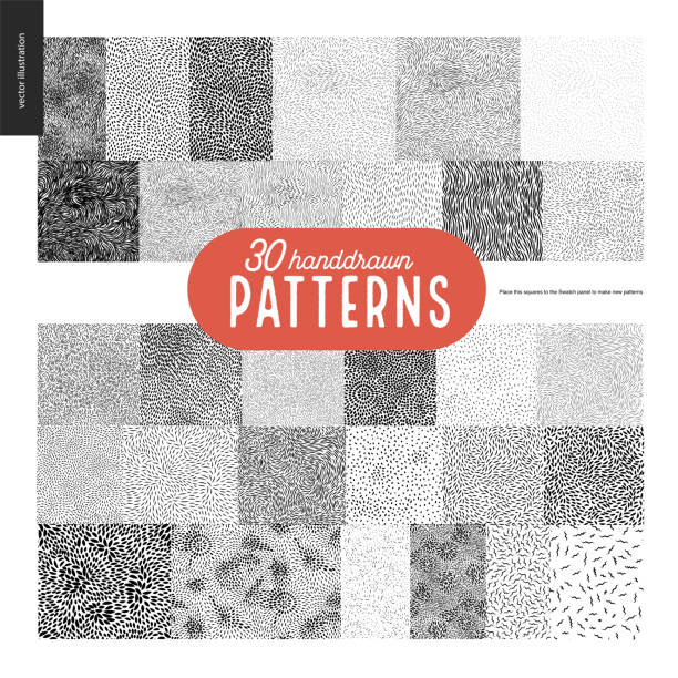 hand drawn black and white 30 patterns set - fur texture stock illustrations, clip art, cartoons, & icons