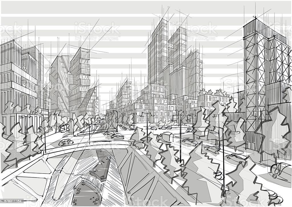 Disegnato a mano libera bianco e nero architettura della for Architettura disegnata