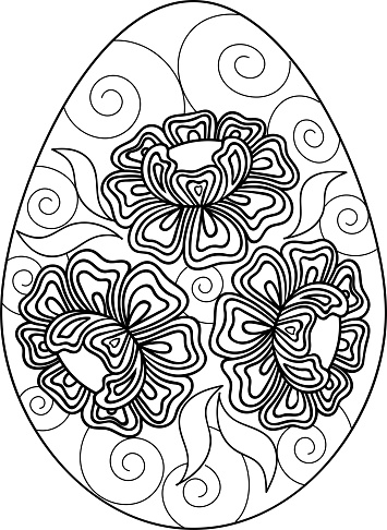 Hand drawn black and white eggs with flowers.