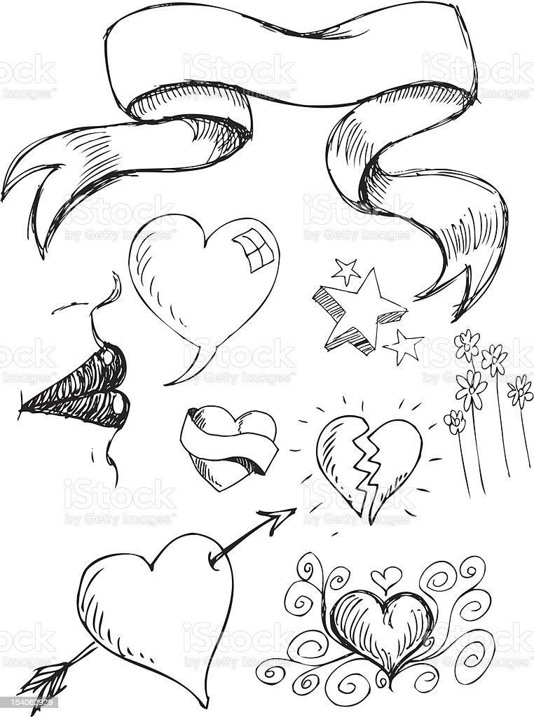 Hand drawn black and white heart doodles vector art illustration