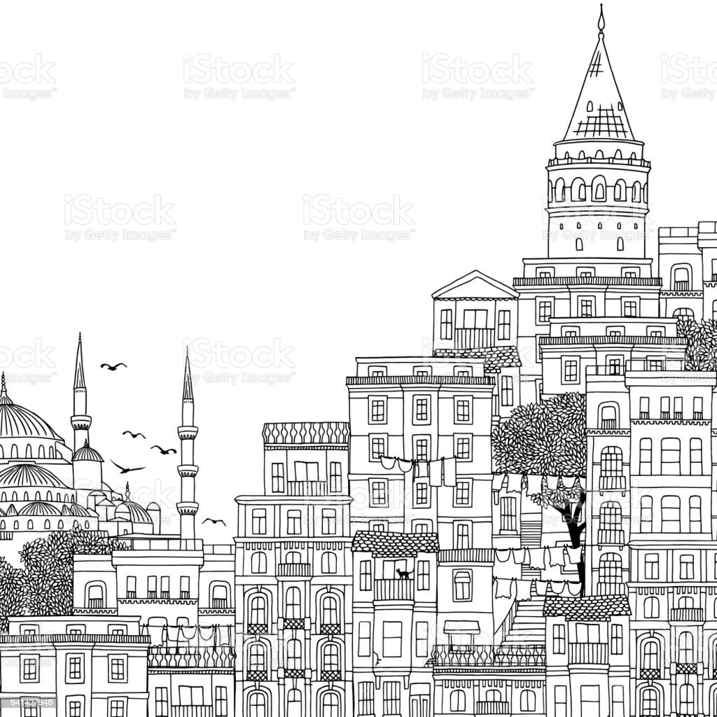 Hand drawn black and white illustration of Istanbul vector art illustration