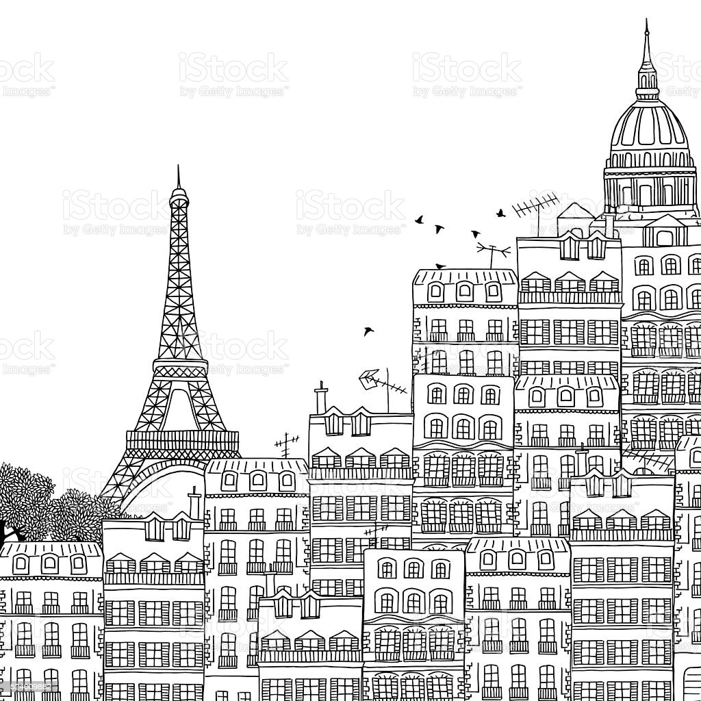 Hand drawn black and white illustration of Paris vector art illustration