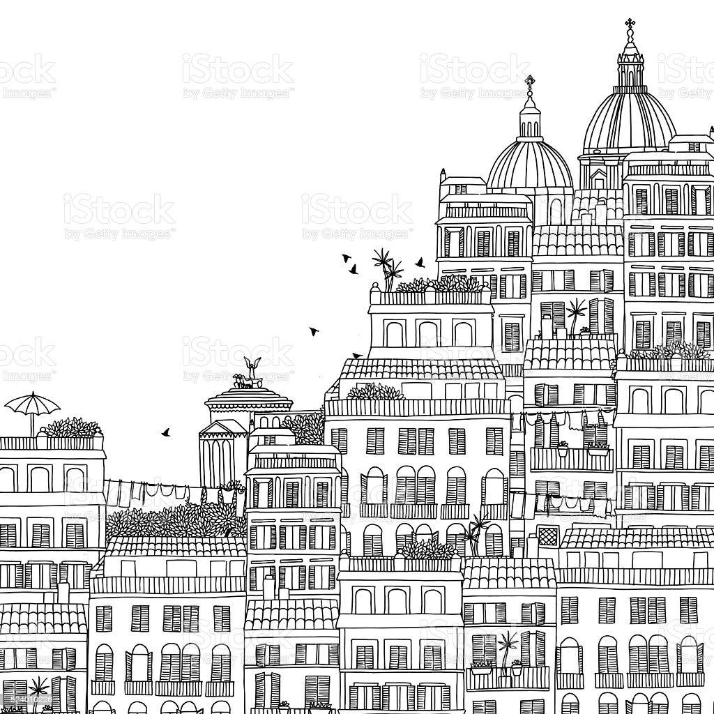 Hand drawn black and white illustration of Rome vector art illustration