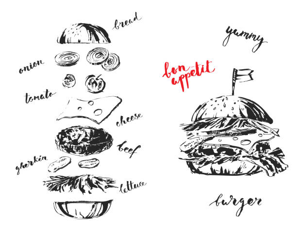 Hand drawn black and white ink fast food illustration. Hand drawn black and white ink fast food illustration. Yummy layered cheeseburger constructor with lettuce, tomato, onion, cheese, meet, gherkin. For menu and background design. pickle slice stock illustrations