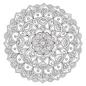 hand drawn black and white mandala