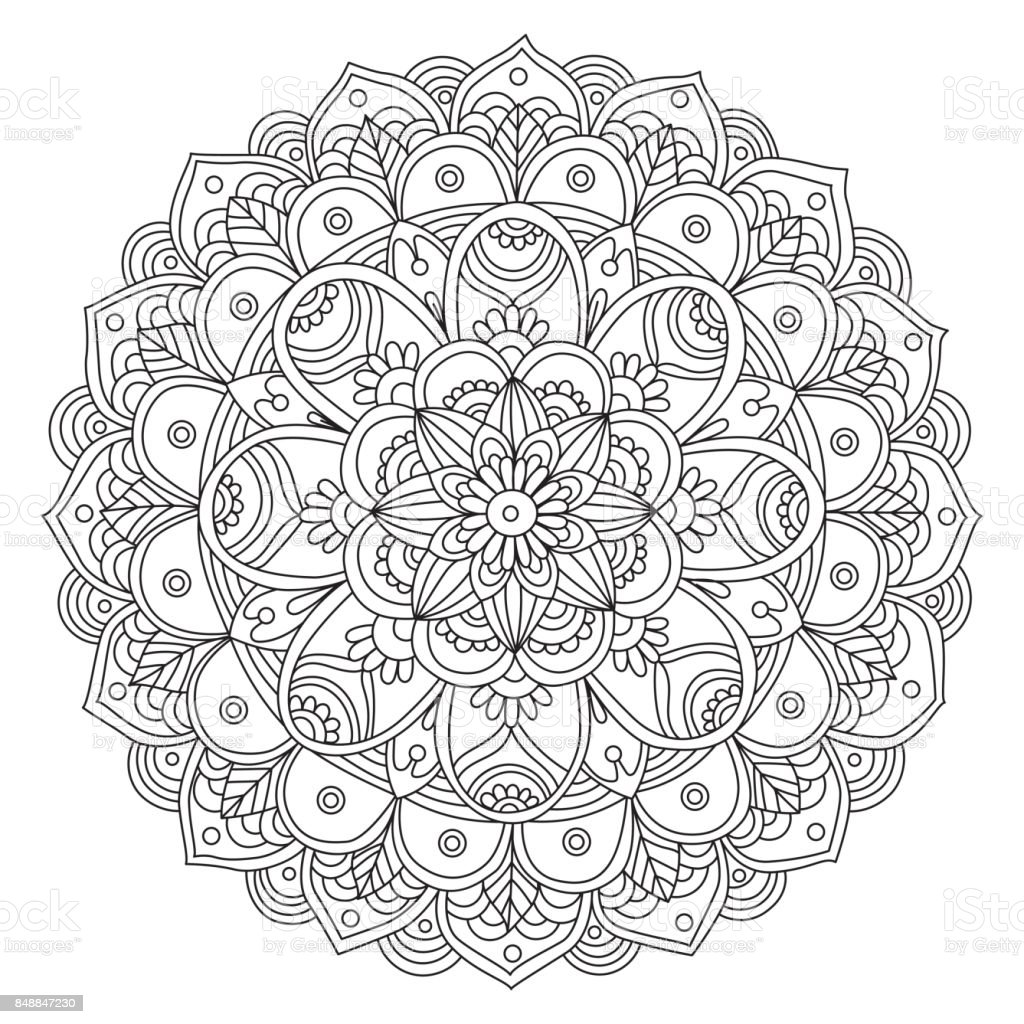 hand drawn black and white mandala vector art illustration