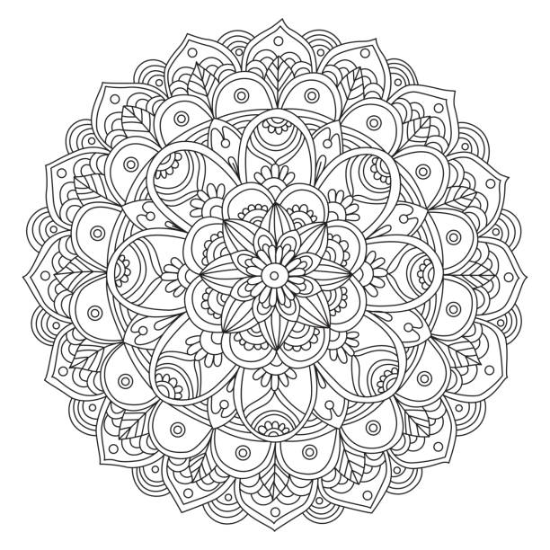 mandala noir et blanc dessiné à la main - Illustration vectorielle