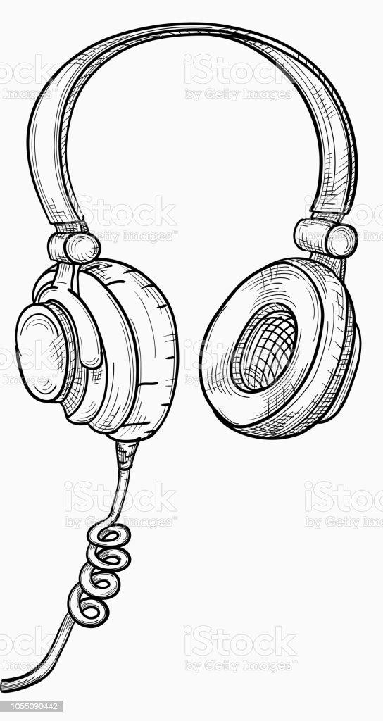 Ilustración De Auriculares Musical Blanco Y Negro Dibujado A Mano Y
