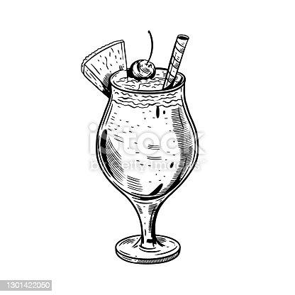 istock Hand drawn black color Pino colada cocktail. Vintage realistic sketch. Stock vector illustration. 1301422050