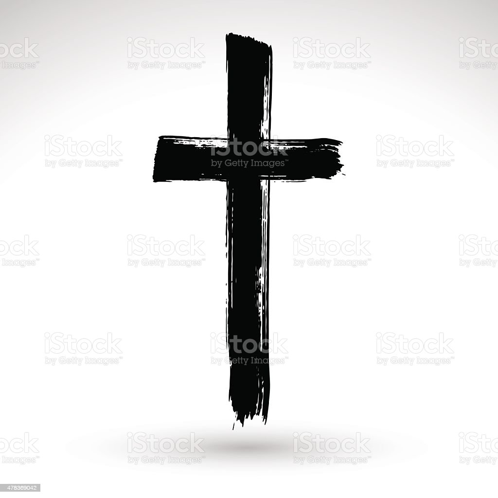 Hand drawn black grunge cross icon, simple Christian cross sign, - 免版稅2015年圖庫向量圖形