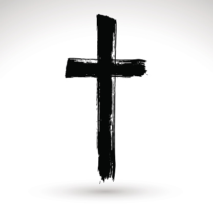 Hand Drawn Black Grunge Cross Icon Simple Christian Cross Sign向量圖形及更多2015年圖片