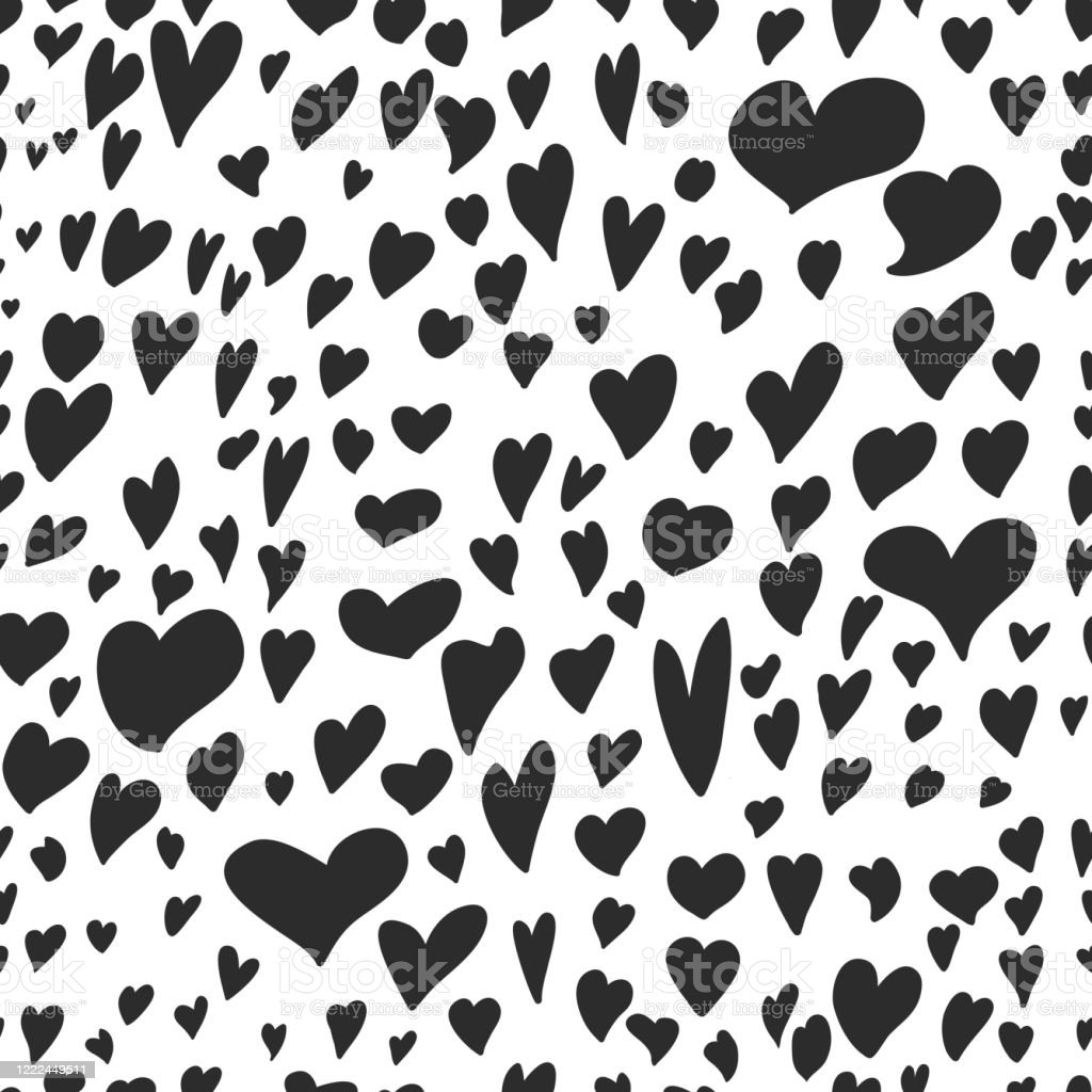 Hand Drawn Black Hearts Seamless Pattern Black And White Can Be Used For Wallpaper Pattern Fills Web Page Background Surface Textures Stock Illustration Download Image Now Istock