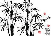 Hand drawn black ink bamboo tree