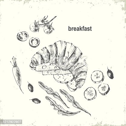 istock Hand drawn black ink breakfast menu illustration 1212922927