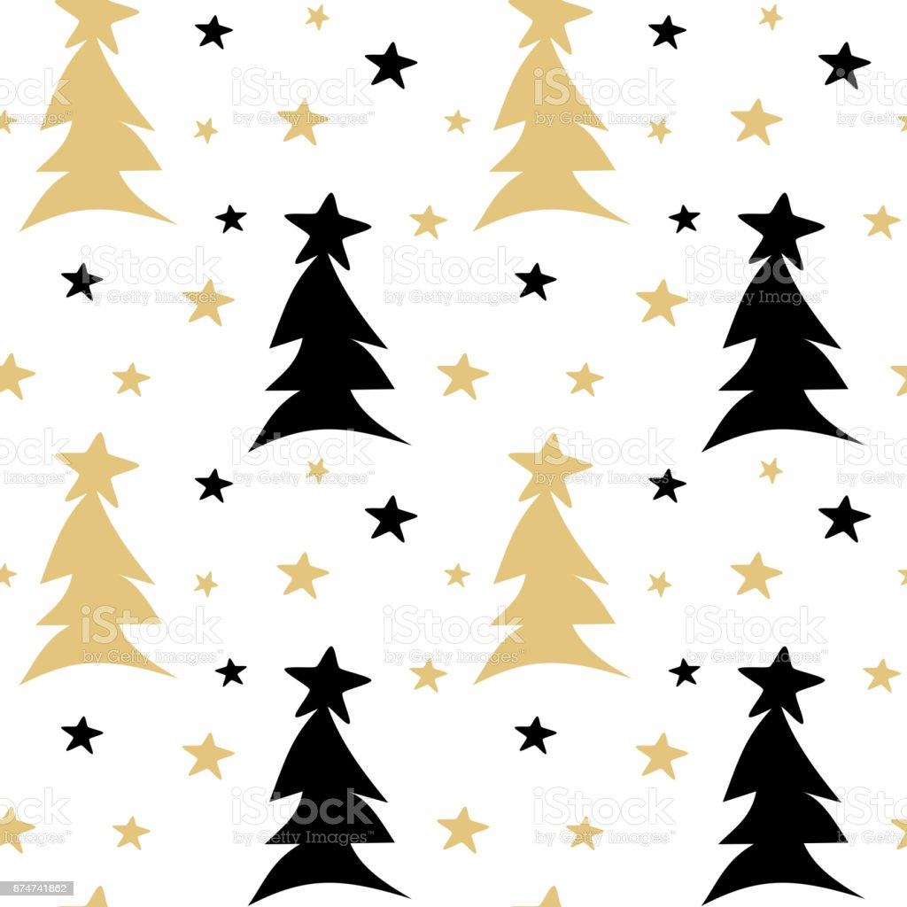 hand drawn black white gold seamless vector pattern background illustration with abstract christmas trees and stars vector art illustration