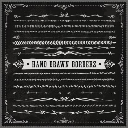 Hand Drawn Blackboard Borders (Long)