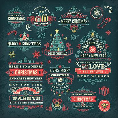 Hand Drawn Blackboard Christmas Labels & Badges