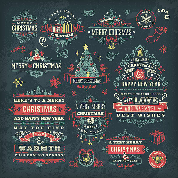Hand Drawn Blackboard Christmas Labels & Badges vector art illustration
