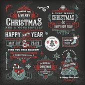 A set of hand drawn blackboard christmas labels & badges. EPS 10 file, with transparencies, layered & grouped,