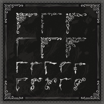 A set of hand drawn blackboard frame corners. EPS 10 file, with transparencies, layered & grouped,