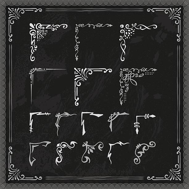 Hand Drawn Blackboard Frame Corners A set of hand drawn blackboard frame corners. EPS 10 file, with transparencies, layered & grouped,  corner stock illustrations