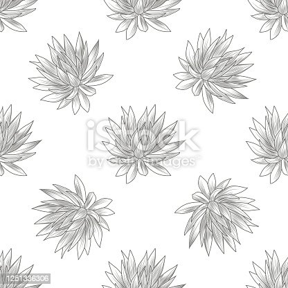 Hand drawn blue agave seamless pattern. Succulent plants wallpaper. Engraving vintage style. Vector illustration.