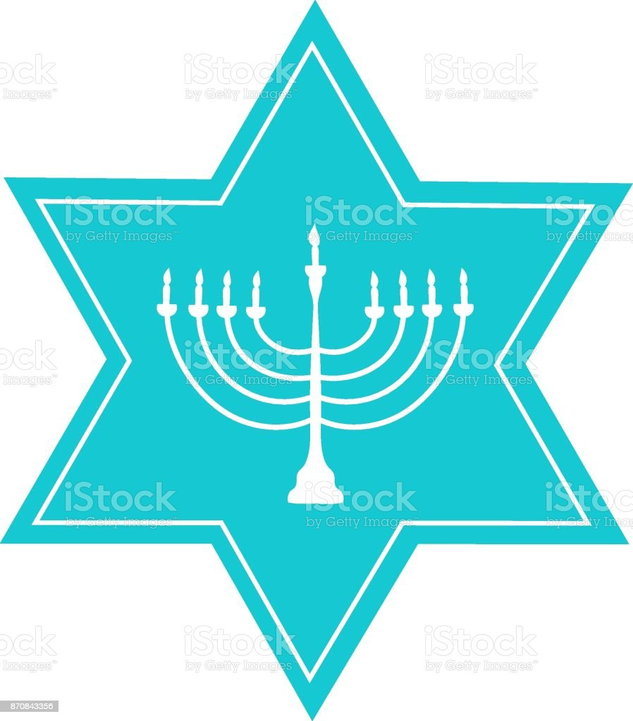 Hand Drawn Blue David Star White Menorah Candle Holder Silhouette ...
