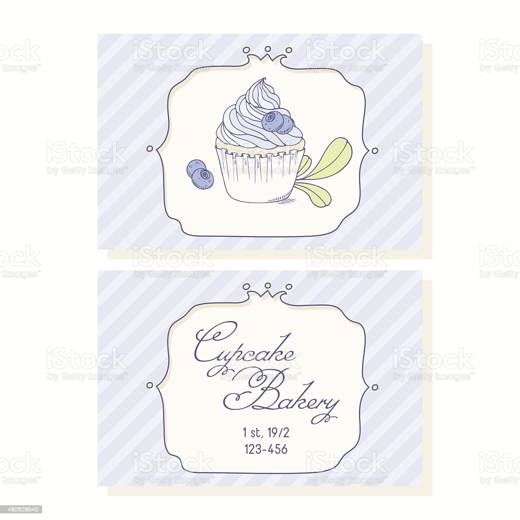 Hand drawn blueberry cupcake business cards template for pastry shop hand drawn blueberry cupcake business cards template for pastry shop royalty free hand drawn blueberry wajeb Images