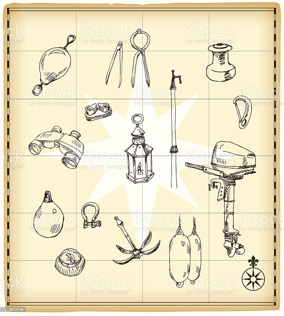 Hand drawn boat equipment on old map background royalty-free stock vector art