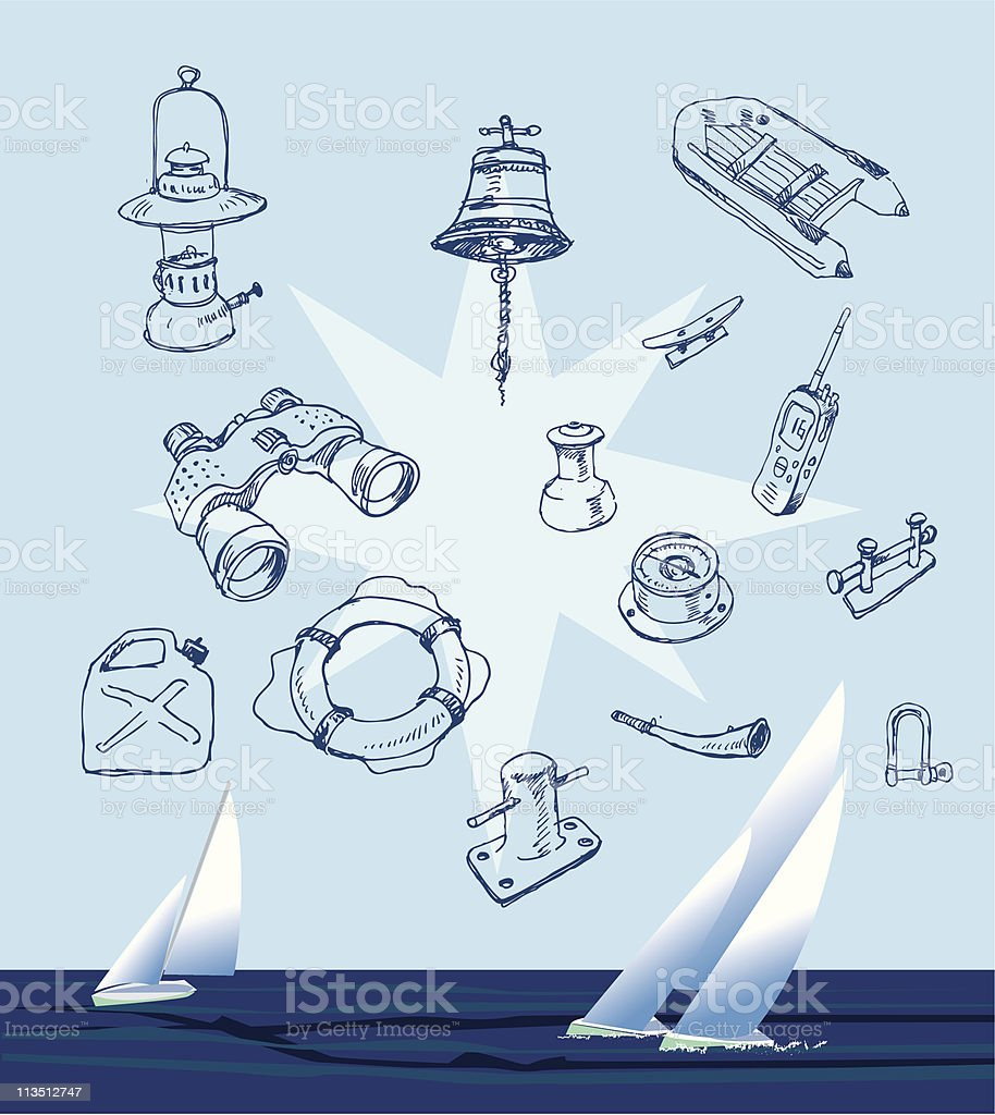 Hand drawn boat equipment on sea sailing background royalty-free stock vector art