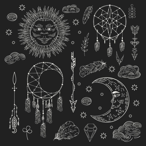 c0daebbc9 Hand drawn boho dream catcher, celestial sun, crescent moon with clouds and  stars,