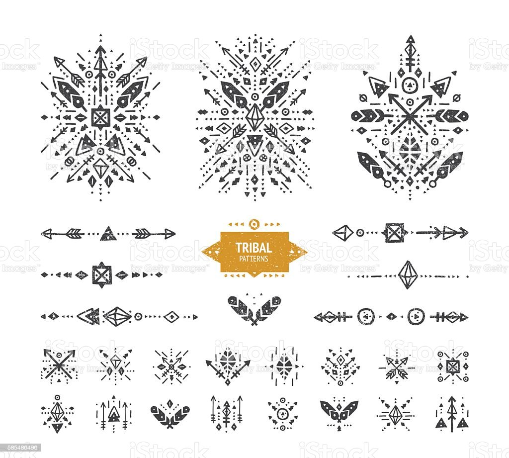 Hand drawn boho patterns with stroke vector art illustration