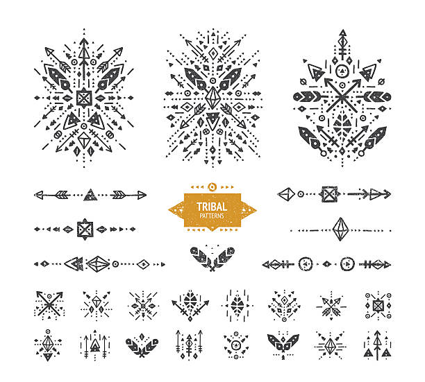 hand drawn boho patterns with stroke - tribal tattoos stock illustrations, clip art, cartoons, & icons