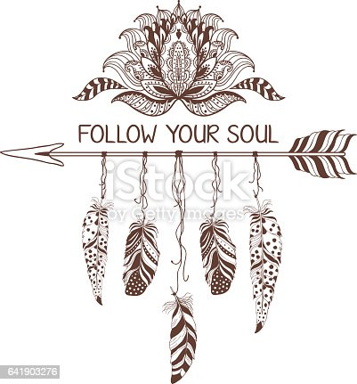 Hand Drawn Boho Style Design With Lotus Flower Arrow And