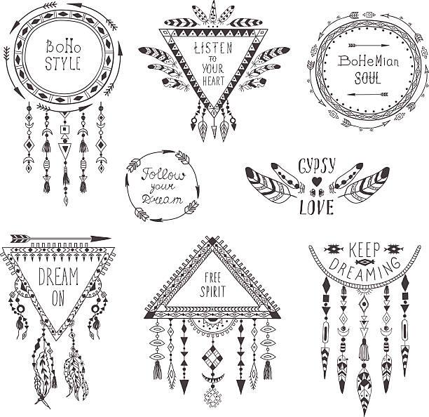 hand drawn boho style frames and decorations. - bohemian fashion stock illustrations, clip art, cartoons, & icons