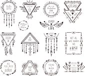 Hand Drawn Boho Style Frames and Decorations. Set of Fashion Ethnic Designs with motivate quote for T-shirt, Tattoo and Card.