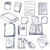 Hand drawn book, documents, notebook and sheets of paper. Vector illustration
