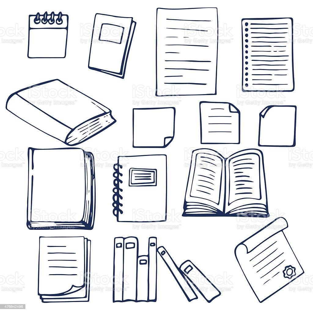 Hand drawn book, documents, notebook and sheets of paper vector art illustration