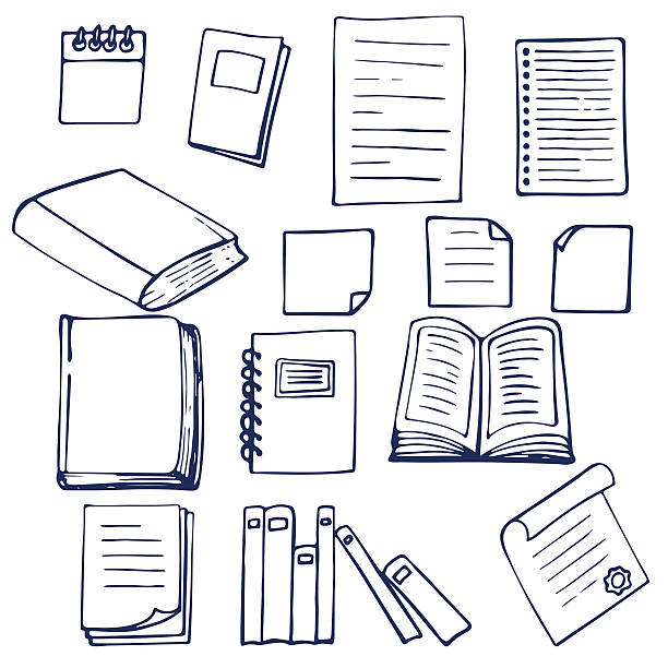 hand drawn book, documents, notebook and sheets of paper - book drawings stock illustrations
